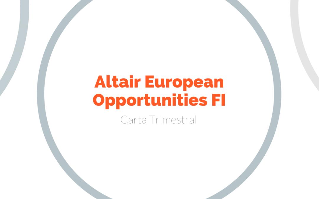 Carta Trimestral del fondo Altair European Opportunities 2T2020